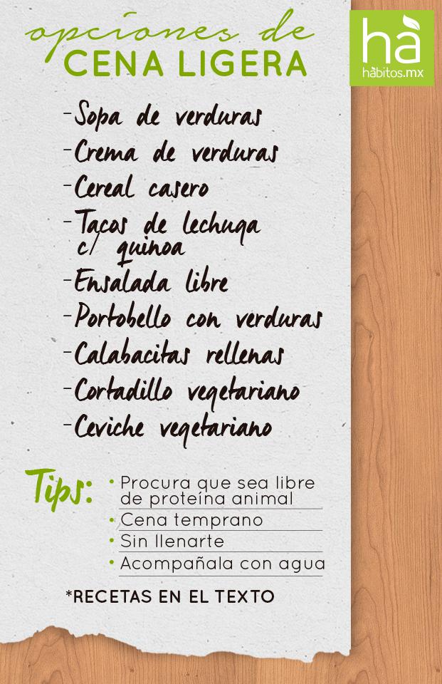 H bitos health coaching opciones de cena ligera for Menu de cenas